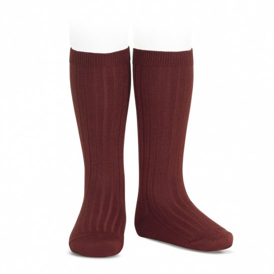 Amaia Kids - Ribbed knee high socks - Granate アマイアキッズ - ソックス