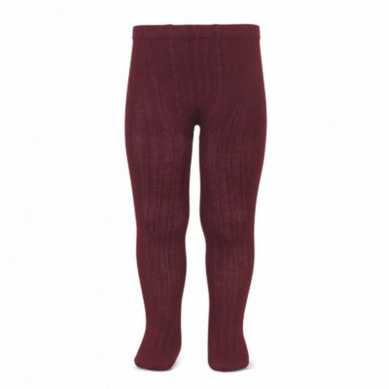 Amaia Kids - Ribbed tights - Granate Red アマイアキッズ - タイツ