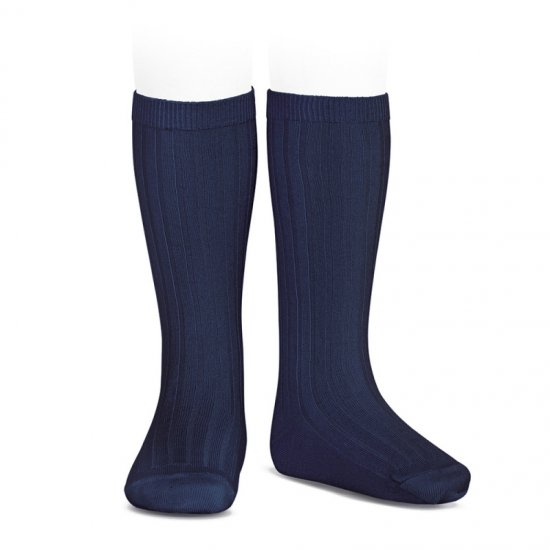 Amaia Kids - Ribbed knee high socks - Navy アマイアキッズ - ソックス