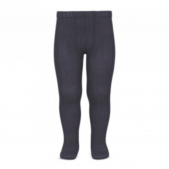 Amaia Kids - Ribbed tights - Charcoal Grey アマイアキッズ - タイツ