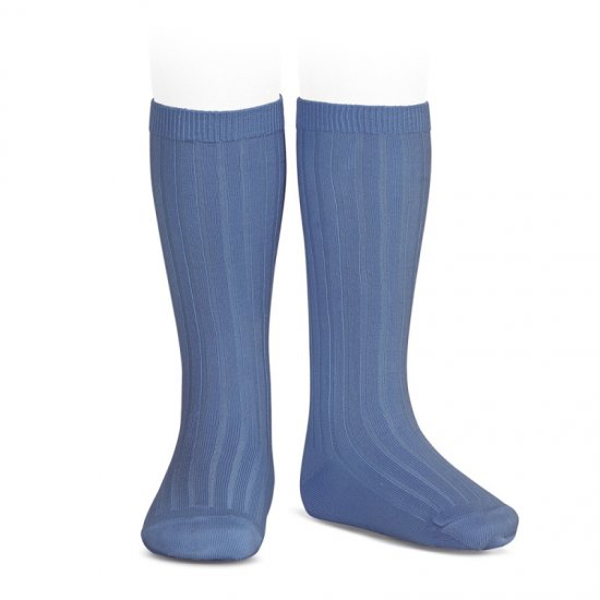 <img class='new_mark_img1' src='https://img.shop-pro.jp/img/new/icons14.gif' style='border:none;display:inline;margin:0px;padding:0px;width:auto;' />Amaia Kids - Ribbed knee high socks - Blue france アマイアキッズ - ソックス