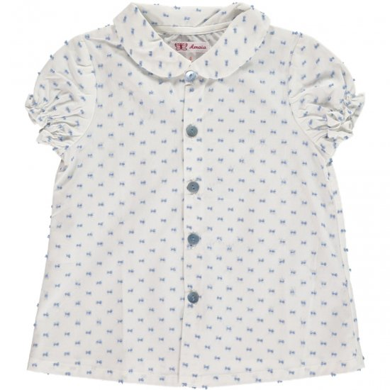 Amaia Kids - Cecile blouse - white アマイアキッズ - 水玉ブラウス