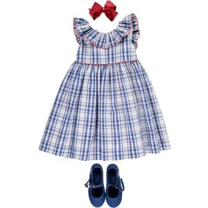 <img class='new_mark_img1' src='https://img.shop-pro.jp/img/new/icons20.gif' style='border:none;display:inline;margin:0px;padding:0px;width:auto;' />50%OFF★Amaia Kids - Poppy dress - Blue Check アマイアキッズ - チェックワンピース