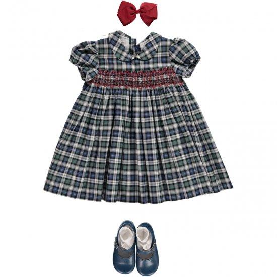 Amaia Kids - Shirley dress - tartan アマイアキッズ - スモッキング刺繍ワンピース