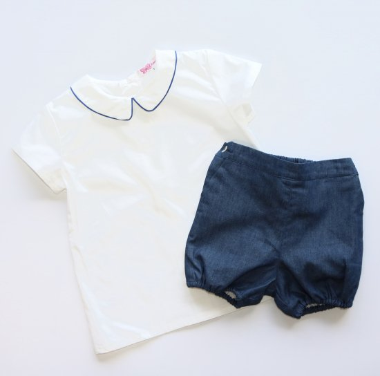 Amaia Kids - Mallard shirt shortsleeves- Blue アマイアキッズ - 半袖シャツ
