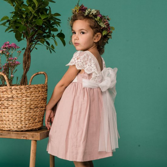 【オーダー受付】Amaia Kids - Lea dress - Ivory アマイアキッズ - ドレス