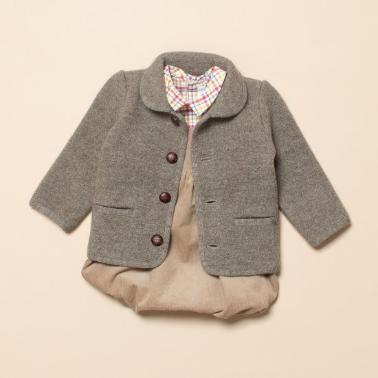 <img class='new_mark_img1' src='https://img.shop-pro.jp/img/new/icons14.gif' style='border:none;display:inline;margin:0px;padding:0px;width:auto;' />Amaia Kids - Redwink jacket - Grey Brown アマイアキッズ - ウールジャケット