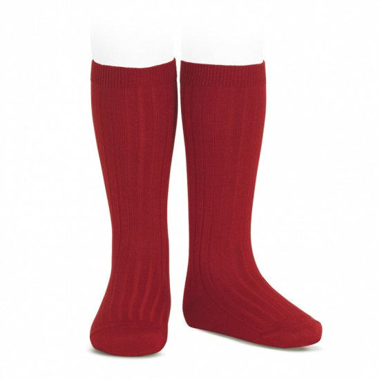 Amaia Kids - Ribbed knee high socks - Cherry アマイアキッズ - ソックス