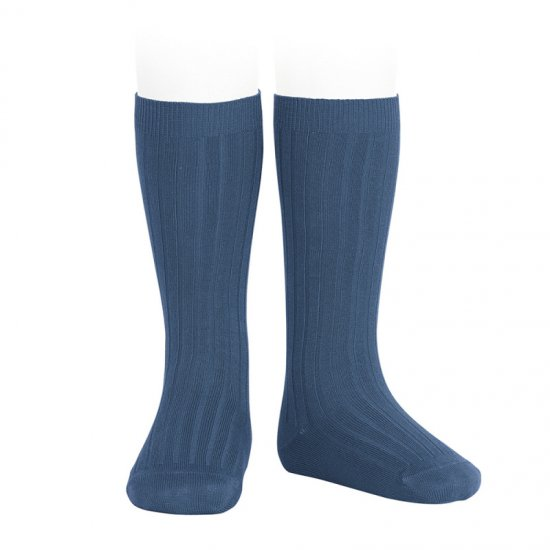 <img class='new_mark_img1' src='https://img.shop-pro.jp/img/new/icons14.gif' style='border:none;display:inline;margin:0px;padding:0px;width:auto;' />Amaia Kids - Ribbed knee high socks - Cobalt アマイアキッズ - ソックス