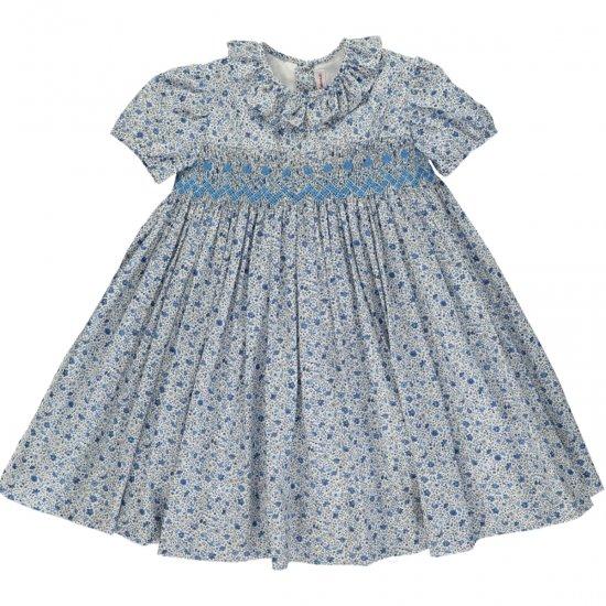 Amaia Kids - Moohren dress - Liberty blue アマイアキッズ - スモッキング刺繍リバティプリントワンピース