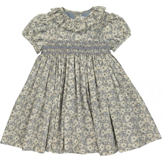 <img class='new_mark_img1' src='https://img.shop-pro.jp/img/new/icons20.gif' style='border:none;display:inline;margin:0px;padding:0px;width:auto;' />【30%OFF】Amaia Kids - Moohren dress - Liberty grey アマイアキッズ - スモッキング刺繍リバティプリントワンピース