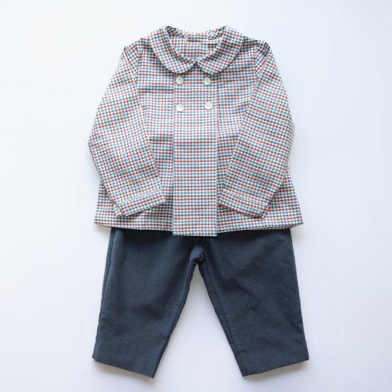 Amaia Kids - Thomas shirt - Red Blue check アマイアキッズ - 長袖シャツ
