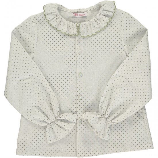 <img class='new_mark_img1' src='https://img.shop-pro.jp/img/new/icons14.gif' style='border:none;display:inline;margin:0px;padding:0px;width:auto;' />Amaia Kids - Snowflake blouse - Green dots アマイアキッズ - 水玉ブラウス