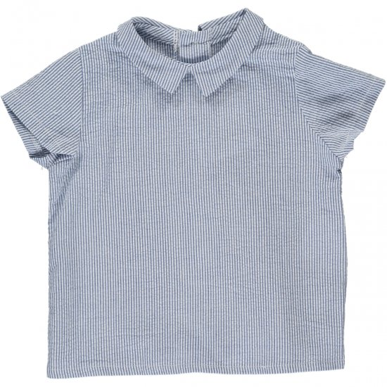 <img class='new_mark_img1' src='https://img.shop-pro.jp/img/new/icons14.gif' style='border:none;display:inline;margin:0px;padding:0px;width:auto;' />Amaia Kids - Mallard shirt - Blue small stripe アマイアキッズ - シャツ