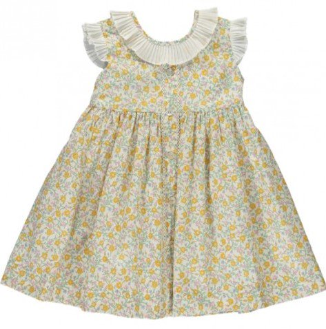<img class='new_mark_img1' src='https://img.shop-pro.jp/img/new/icons14.gif' style='border:none;display:inline;margin:0px;padding:0px;width:auto;' />Amaia Kids - Ganivet dress - Liberty yellow アマイアキッズ - リバティプリントワンピース