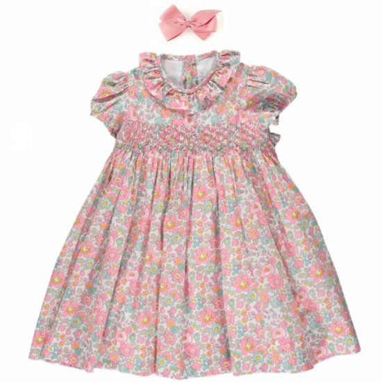 <img class='new_mark_img1' src='https://img.shop-pro.jp/img/new/icons14.gif' style='border:none;display:inline;margin:0px;padding:0px;width:auto;' />Amaia Kids - Moohren dress - Liberty Pink アマイアキッズ - リバティプリントワンピース