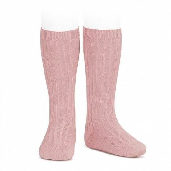 Amaia Kids - Ribbed knee high socks - Dusty pink アマイアキッズ - ソックス