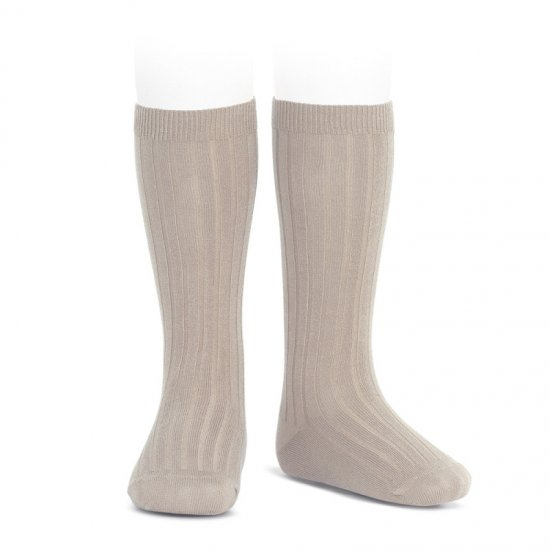Amaia Kids - Ribbed knee high socks - Oat アマイアキッズ - ソックス
