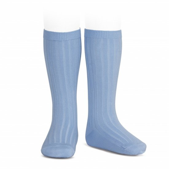 Amaia Kids - Ribbed knee high socks - Light blue アマイアキッズ - ソックス