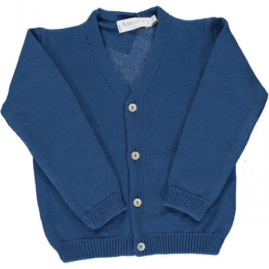 <img class='new_mark_img1' src='https://img.shop-pro.jp/img/new/icons14.gif' style='border:none;display:inline;margin:0px;padding:0px;width:auto;' />Amaia Kids - Sous marin cardigan - Blue アマイアキッズ - コットンカーディガン