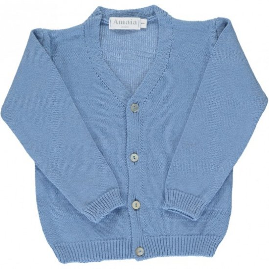 <img class='new_mark_img1' src='https://img.shop-pro.jp/img/new/icons14.gif' style='border:none;display:inline;margin:0px;padding:0px;width:auto;' />Amaia Kids - Sous marin cardigan - Light blue アマイアキッズ - コットンカーディガン
