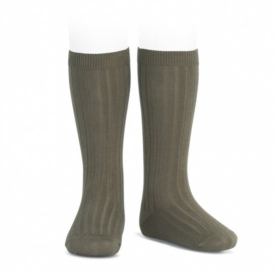 Amaia Kids - Ribbed knee high socks - Stone アマイアキッズ - ソックス