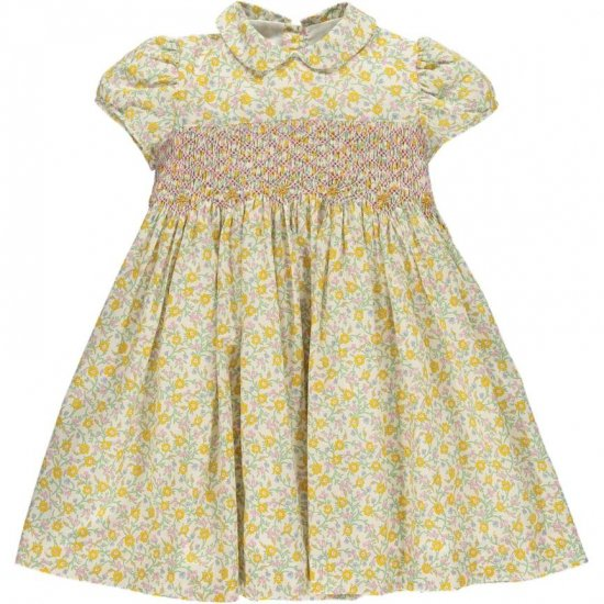 <img class='new_mark_img1' src='https://img.shop-pro.jp/img/new/icons14.gif' style='border:none;display:inline;margin:0px;padding:0px;width:auto;' />Amaia Kids - Shirley dress - Liberty yellow アマイアキッズ - リバティプリントワンピース