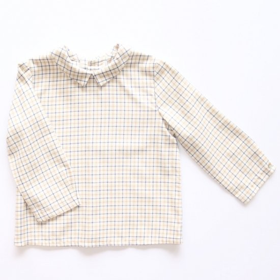 <img class='new_mark_img1' src='https://img.shop-pro.jp/img/new/icons14.gif' style='border:none;display:inline;margin:0px;padding:0px;width:auto;' />Amaia Kids - Mallard shirt - Beige/Blue checked アマイアキッズ - チェック柄シャツ