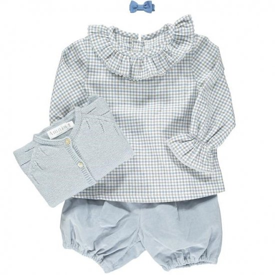 <img class='new_mark_img1' src='https://img.shop-pro.jp/img/new/icons14.gif' style='border:none;display:inline;margin:0px;padding:0px;width:auto;' />Amaia Kids - Amelia blouse - Blue/Grey checked アマイアキッズ - チェック柄ブラウス