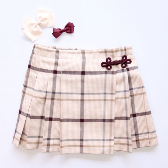 <img class='new_mark_img1' src='https://img.shop-pro.jp/img/new/icons14.gif' style='border:none;display:inline;margin:0px;padding:0px;width:auto;' />Amaia Kids - Kiera skirt - Pink/Brown checked アマイアキッズ - チェック柄スカート