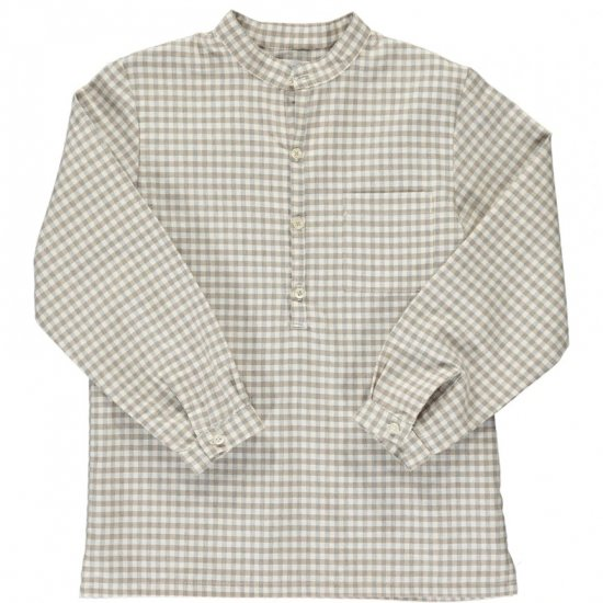 <img class='new_mark_img1' src='https://img.shop-pro.jp/img/new/icons14.gif' style='border:none;display:inline;margin:0px;padding:0px;width:auto;' />Amaia Kids - Victor shirt - Camel/Grey checked アマイアキッズ - チェック柄シャツ