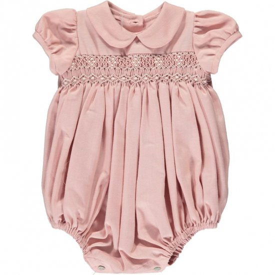 <img class='new_mark_img1' src='https://img.shop-pro.jp/img/new/icons14.gif' style='border:none;display:inline;margin:0px;padding:0px;width:auto;' />Amaia Kids - Tokyone romper - Pink アマイアキッズ - スモック刺繍ロンパース