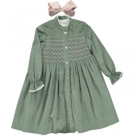 <img class='new_mark_img1' src='https://img.shop-pro.jp/img/new/icons14.gif' style='border:none;display:inline;margin:0px;padding:0px;width:auto;' />Amaia Kids - Ines dress - Green アマイアキッズ - コーデュロイワンピース