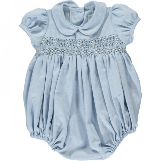 <img class='new_mark_img1' src='https://img.shop-pro.jp/img/new/icons14.gif' style='border:none;display:inline;margin:0px;padding:0px;width:auto;' />Amaia Kids - Tokyone romper - Blue アマイアキッズ - スモック刺繍ロンパース