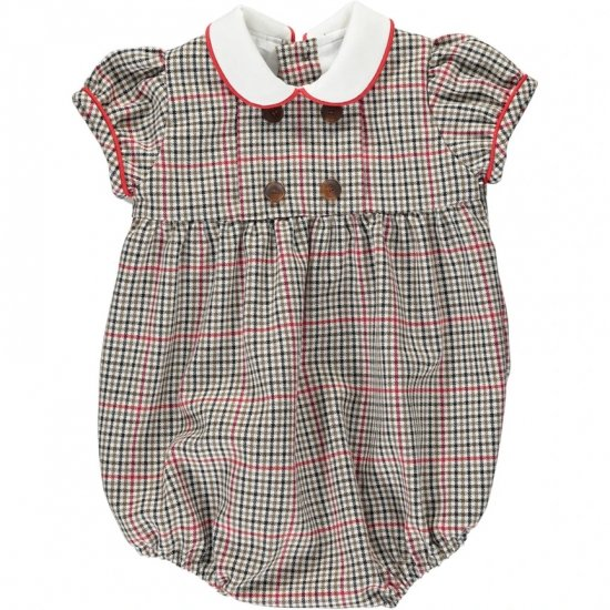 <img class='new_mark_img1' src='https://img.shop-pro.jp/img/new/icons14.gif' style='border:none;display:inline;margin:0px;padding:0px;width:auto;' />Amaia Kids - Felicidad romper short sleeves - Checked アマイアキッズ - チェック柄ロンパース