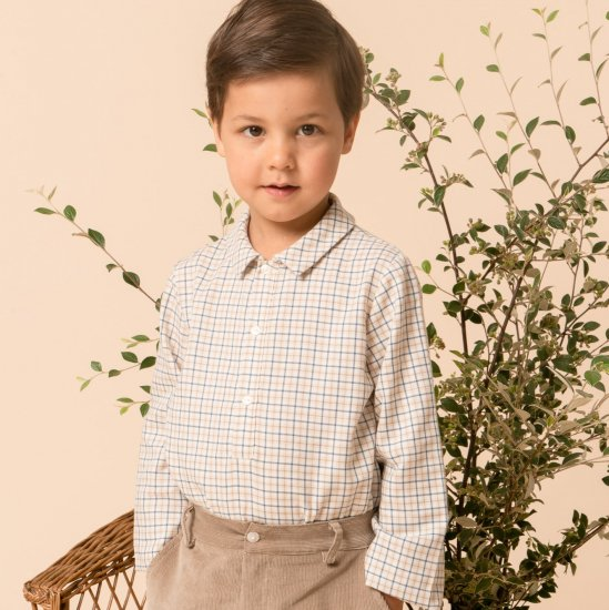 <img class='new_mark_img1' src='https://img.shop-pro.jp/img/new/icons14.gif' style='border:none;display:inline;margin:0px;padding:0px;width:auto;' />Amaia Kids - Oliver shirt - Beige/Blue checked アマイアキッズ - チェック柄シャツ