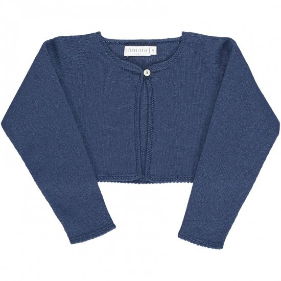 <img class='new_mark_img1' src='https://img.shop-pro.jp/img/new/icons14.gif' style='border:none;display:inline;margin:0px;padding:0px;width:auto;' />Amaia Kids - Rose cardigan - Blue アマイアキッズ - ウールボレロカーディガン