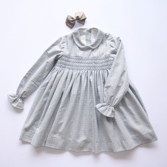<img class='new_mark_img1' src='https://img.shop-pro.jp/img/new/icons14.gif' style='border:none;display:inline;margin:0px;padding:0px;width:auto;' />Amaia Kids - Jujube dress - Blue/Grey checked アマイアキッズ - チェック柄ワンピース