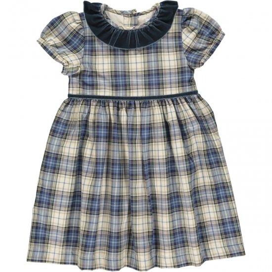 <img class='new_mark_img1' src='https://img.shop-pro.jp/img/new/icons14.gif' style='border:none;display:inline;margin:0px;padding:0px;width:auto;' />Amaia Kids - Raisin dress - Blue/Beige tartan アマイアキッズ - チェック柄ワンピース