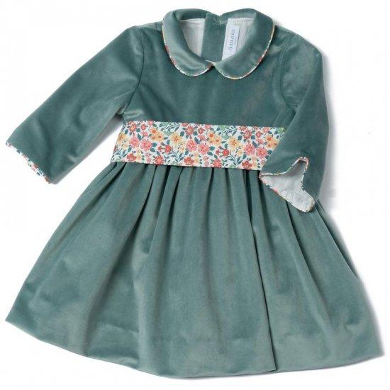 <img class='new_mark_img1' src='https://img.shop-pro.jp/img/new/icons14.gif' style='border:none;display:inline;margin:0px;padding:0px;width:auto;' />Amaia Kids - Sevilla Christmas velvet dress - Aqua アマイアキッズ - ベルベット素材クリスマスワンピース