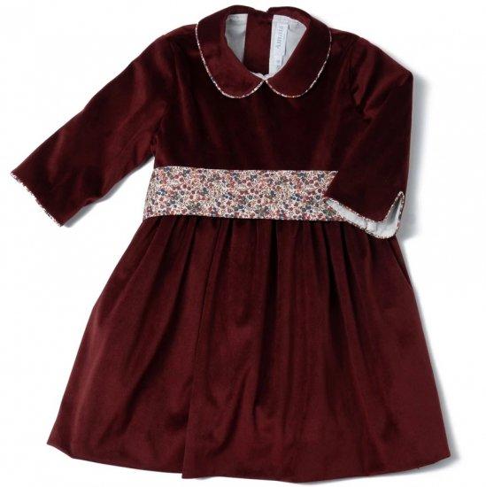 <img class='new_mark_img1' src='https://img.shop-pro.jp/img/new/icons14.gif' style='border:none;display:inline;margin:0px;padding:0px;width:auto;' />Amaia Kids - Sevilla Christmas velvet dress - Burgundy アマイアキッズ - ベルベット素材クリスマスワンピース
