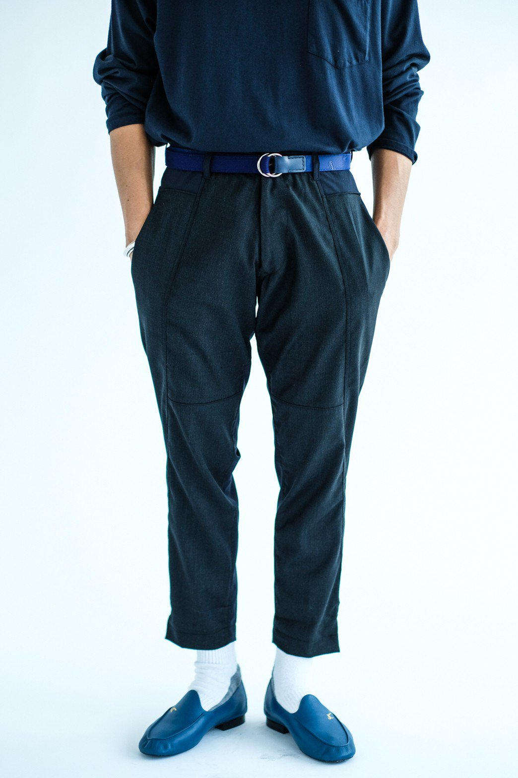 ORIGINAL MADE by IMA:ZINE / TAPERED SLACKS(NAVY × GREY)