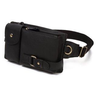 ウエストバッグ ウエストポーチ レザー 革 メンズ レディース ヒップバッグ 全4色 ブラック