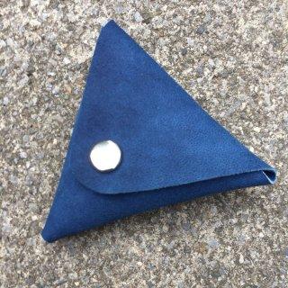 本革 藍染め レザー 三角コインケース 『 無垢 』日本製 山羊革 ハンドメイド