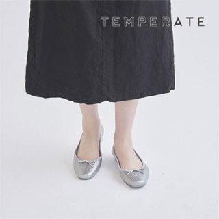 TEMPERATE / EMMA GLITTER<br>スクエアトゥフラットラメレインパンプス