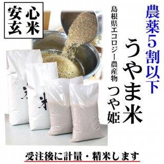 【安心玄米】農薬5割以下 30年産 島根県エコロジー農産物 吉田町「うやま米」つや姫 玄米1kg (島根県雲南市吉田町民谷)