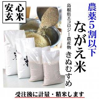 【安心玄米】農薬5割以下 令和元年産 島根県エコロジー農産物「ながえ米」きぬむすめ玄米1kg (島根県松江市西長江町)精米無料
