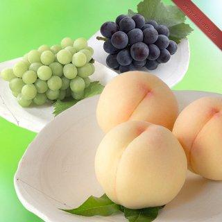 【超特級】詰め合わせ:岡山白桃 3玉 ・マスカット 1房 ・ピオーネ 1房