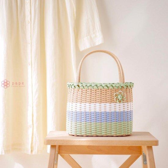 【受注生産】お花モチーフのカゴバッグS*ナチュラルグリーン×ブルー