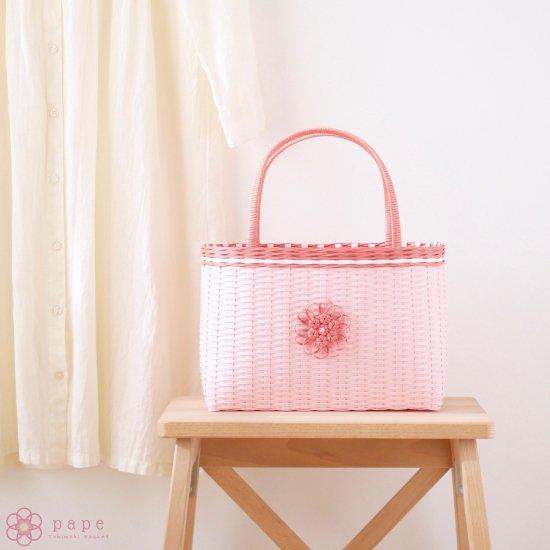 華やかな花飾りのカゴバッグM*ライトピンク【受注生産】